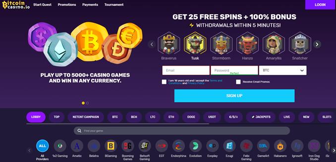 Bitcoincasino.io landing page
