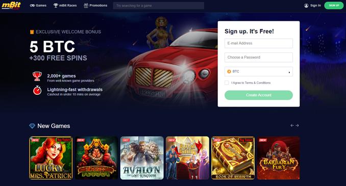 mBit Casino landing page